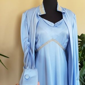 Vintage 60s Blue Dress with Matching Sweater
